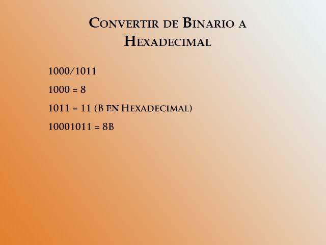 Convertir de binario a hex 2