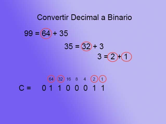Texto a binario - decimal C